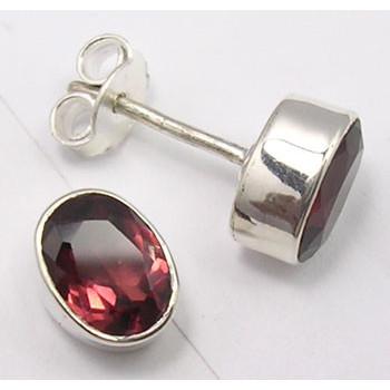 Cercei Argint 925 cu Garnet, 0.9 cm lungime