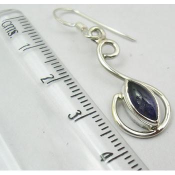 Cercei Argint 925 cu Iolit, 4.0 cm lungime