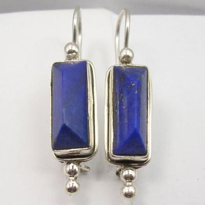 Cercei Argint 925 cu Lapis Lazuli, 3.9 cm lungime