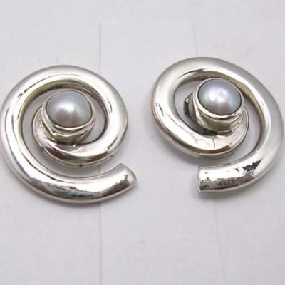 Cercei Argint 925 cu Perla Fresh Water, 1.4 cm lungime