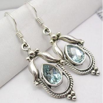 Cercei Argint 925 cu Topaz Albastru, 4.1 cm lungime