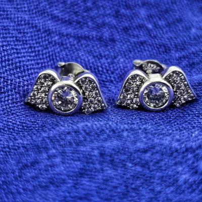 Cercei Argint 925 rodiat Aripi de ingeri cu zirconii albe