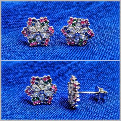 Cercei Argint 925 rodiat Floricele cu zirconii colorate