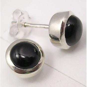 Cercei Argint cu Onix Negru 0,8 cm