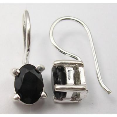 Cercei Argint cu Onix Negru (1,7 cm)