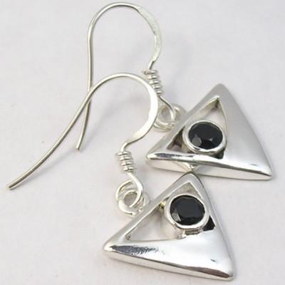 Cercei Argint cu Onix Negru (2,9 cm)