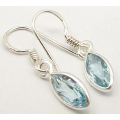 Cercei Argint cu Topaz Albastru (3.0 cm)