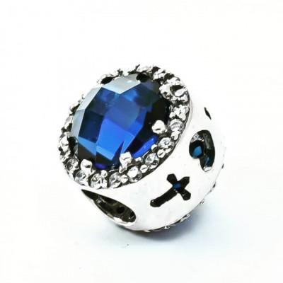 Talisman Argint 925 rodiat Cu piatra albastra si zirconiu- Simulated Diamond