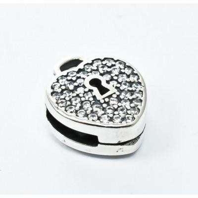 Talisman Argint 925 rodiat Lacat in forma de inima si zirconiu- Simulated Diamond