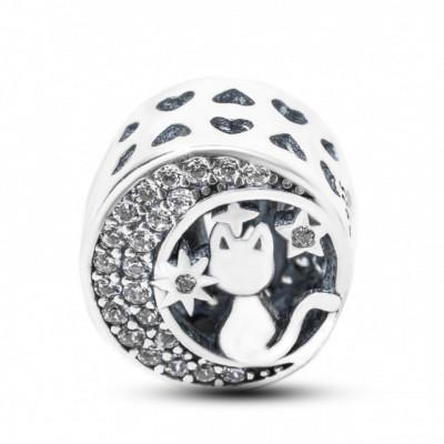 Talisman Argint 925 rodiat Semi luna cu pisica