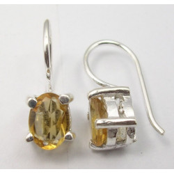 925 Silver Citrine Earrings 1.7CM