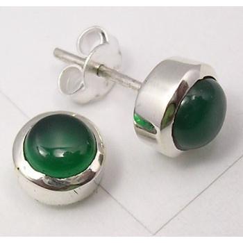 925 Silver Green Onyx Earrings 0.8CM