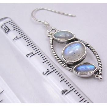 Cercei Argint 925 cu Piatra Lunii , 1.5 cm lungime