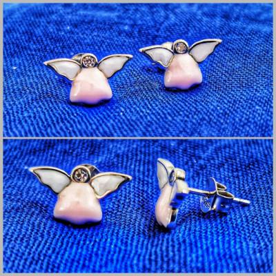 Cercei Argint 925 rodiat Ingeras roz