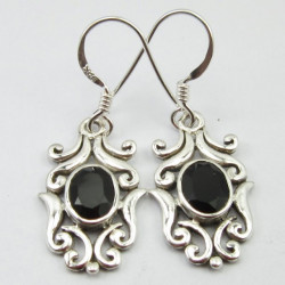 Cercei Argint cu Onix Negru 3,5 cm