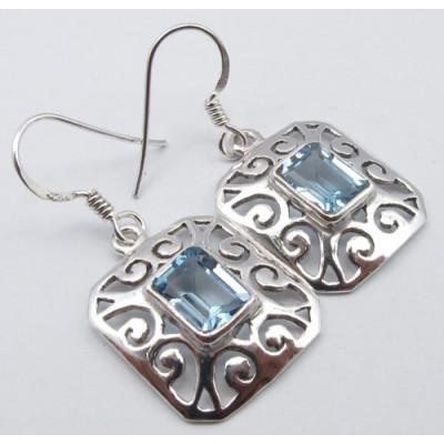 Cercei Argint cu Topaz Albastru (3,5 cm)
