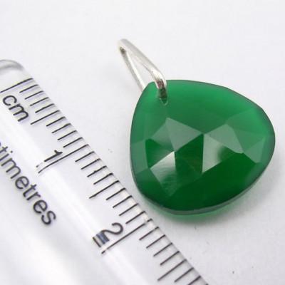 Pandantiv Argint 925 cu Onix Verde 2.1 cm lungime