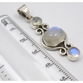 Pandantiv din Argint 925 cu Piatra Lunii 4,4 cm lungime