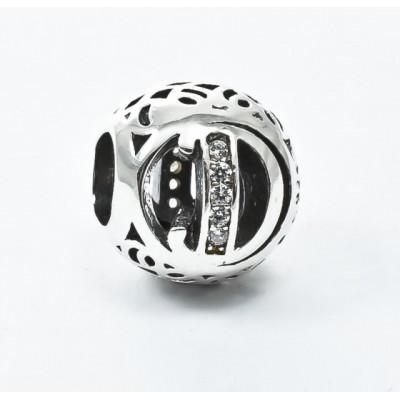 Talisman Argint 925 rodiat cu litera D si zirconiu- Simulated Diamond