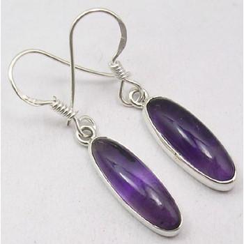 925 Silver Amethyst Earrings 3.7CM