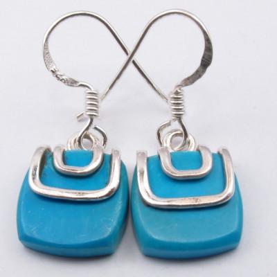 925 Silver Turquoise Earrings 2.8CM