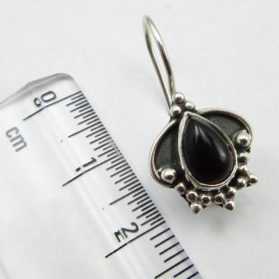 Cercei Argint 925 cu Onix Negru 2.5 cm lungime