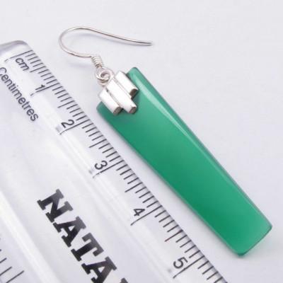 Cercei Argint 925 cu Onix Verde, 5.3 cm lungime