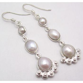 Cercei Argint 925 cu perle, 5.5 cm lungime