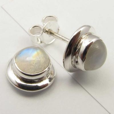 Cercei Argint 925 cu Piatra Lunii, 0.9 cm lungime