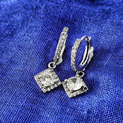 Cercei Argint 925 rodiat Rotunzi cu piatra alba