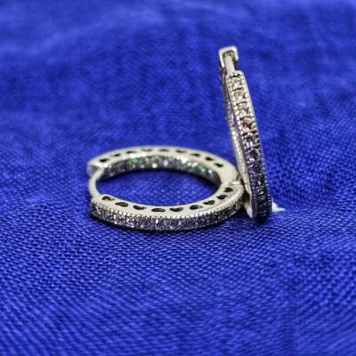 Cercei Argint 925 rodiat Rotunzi si cristale