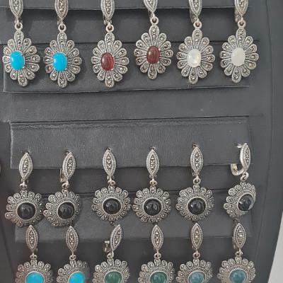 Cercei Argint cu Carnelian si Marcasite