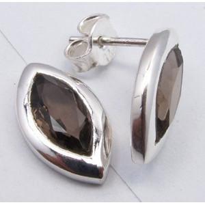 Cercei Argint cu Cuart Fumuriu 1,5 cm