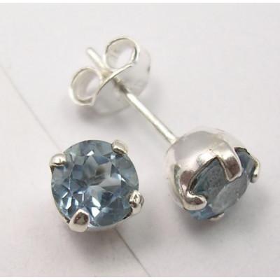 Cercei Argint cu Topaz Albastru 0.7 cm