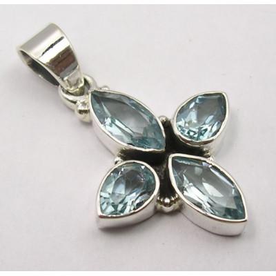 Pandantiv din Argint cu Topaz Albastru 3,2 cm