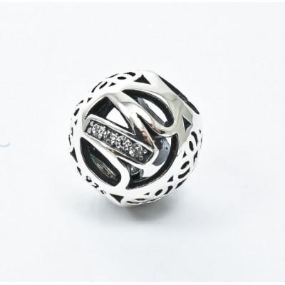 Talisman Argint 925 rodiat cu litera M si zirconiu-Simulated Diamond