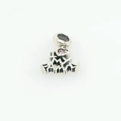 Talisman Argint 925 rodiat I love my family cu Zirconiu