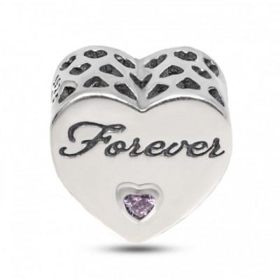 "Talisman Argint 925 rodiat Inima cu mesaj ""FOREVER"""