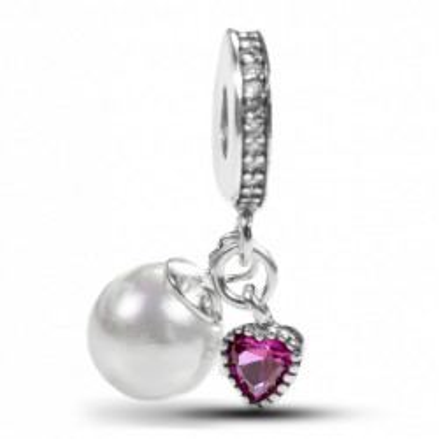 Talisman Argint 925 rodiat Inima cu Zirconiu Roz si Perla