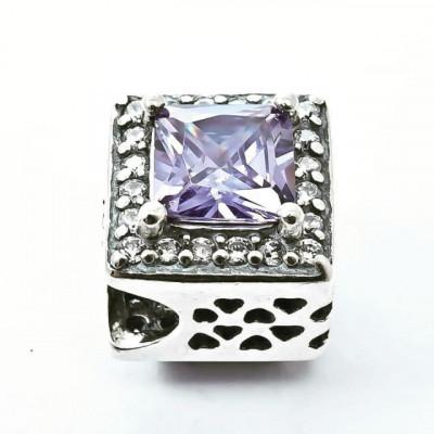 Talisman Argint 925 rodiat Purple Diamond