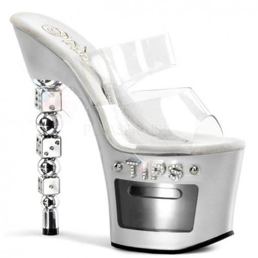 Pleaser sandali DICE-702-2 tacco a dadi argento