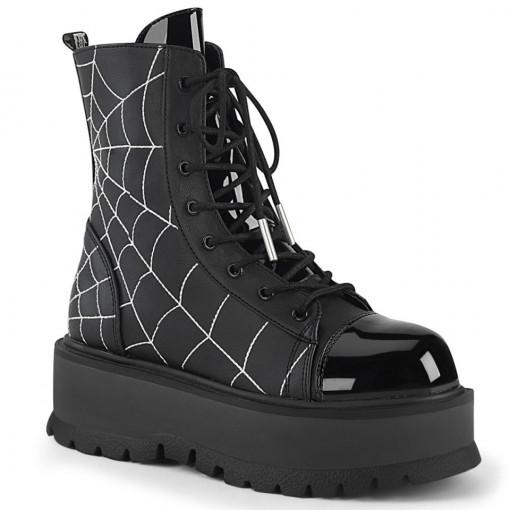 Demonia SLACKER-88 Black Vegan Leather- Pat