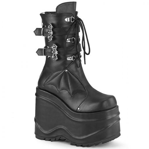 Demonia WAVE-150 Blk Vegan Leather