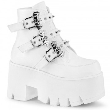Demonia ASHES-55 Wht Vegan Leather