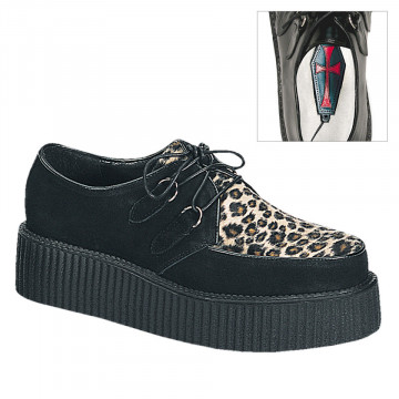 Demonia CREEPER-400 Blk Suede-Cheetah Fur