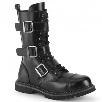 Demonia RIOT-12BK Blk Leather