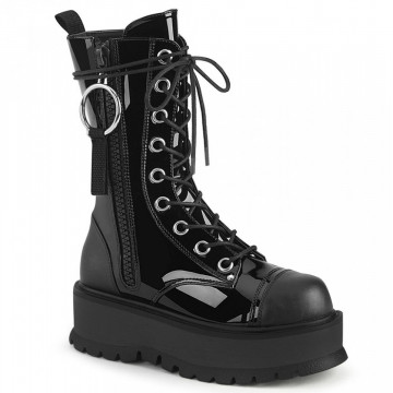 Demonia SLACKER-220 Blk Pat-Vegan Leather