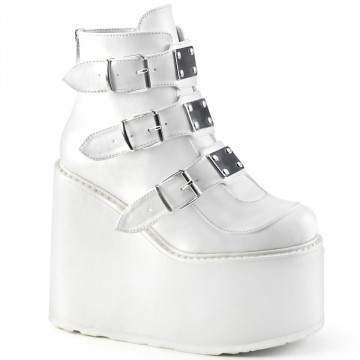 Demonia SWING-105 White Vegan Leather