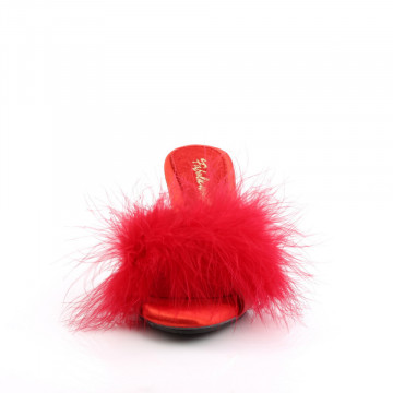 Fabulicious BELLE-301F Red Pu-Fur/Clr