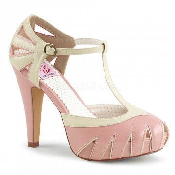 Pin Up Couture BETTIE-25 B. Pink-Cream Faux Leather